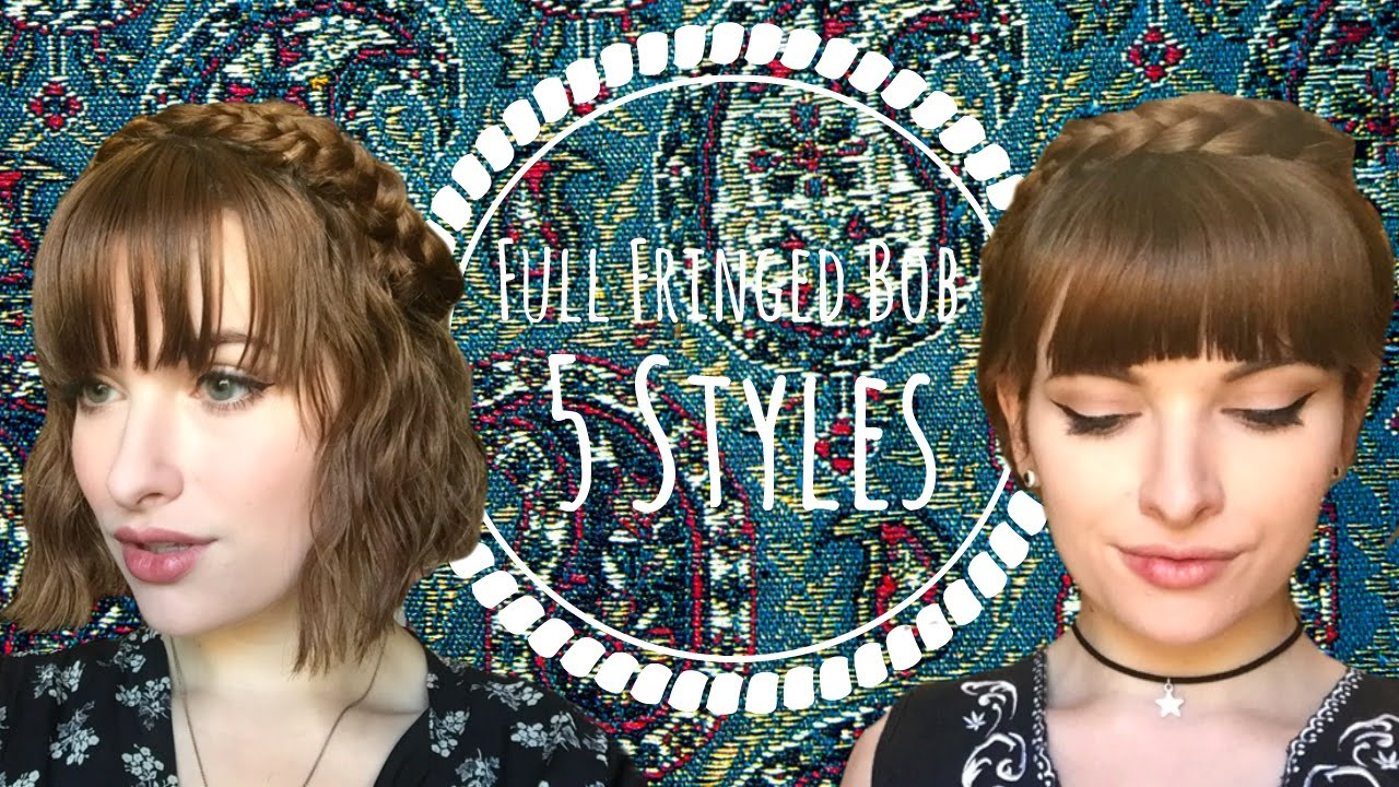 5 no-heat hairstyles for short hair and full fringes || v marie