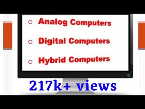 Analog computers, Digital computers and Hybrid computers Lecture