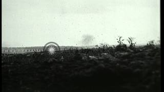 Heavy bombardment barrage German infantry during Battle of Arras in World War I i...HD Stock Footage