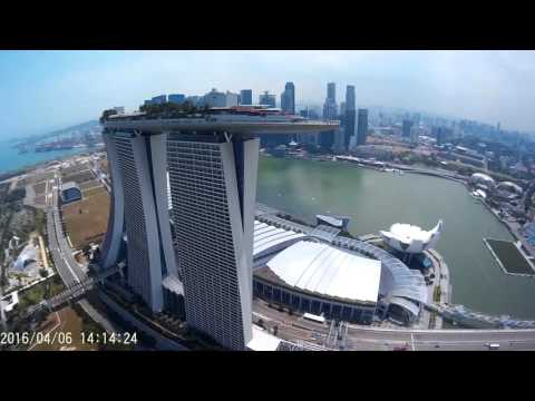 Home-Built Drone view- Marina Bay Sands, Waterfront and Garden By the Bay, Singapore. 1080p Full HD