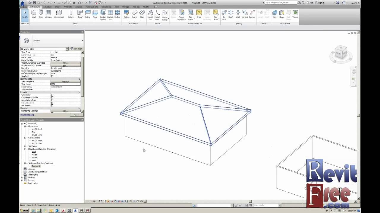 A hip roof in Revit architecture - YouTube