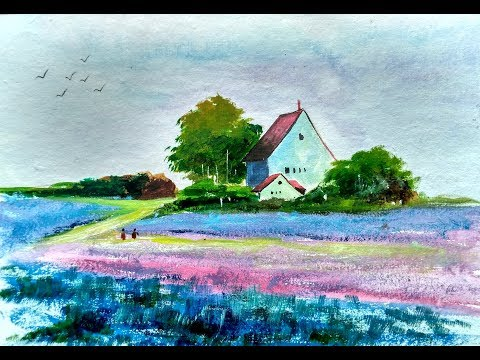 Lavender Field watercolor beginner landscape tutorial | Paint with david