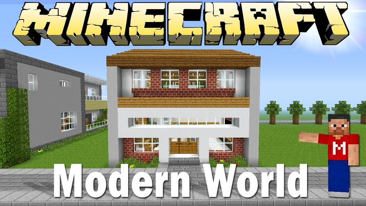 Minecraft modern classic house with indoor garden modern for Modern classic house