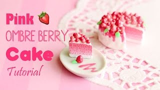 Pink Ombre Berry Cake│Polymer Clay Tutorial