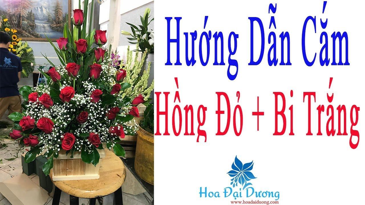 Cách Cắm Hộp Hoa Hồng Đỏ Bi Trắng Đơn Giản Đẹp Nghệ Thuật