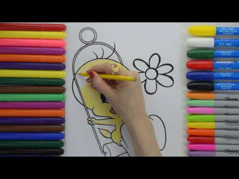 Tweety Bird  Coloring Pages    Disney Cartoon For Kids   Education Videos  For Learning  Colors