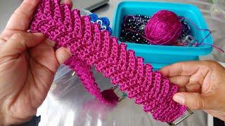 Asa Tejida a Crochet En Punto Espiga Para Bolsos Tejidos