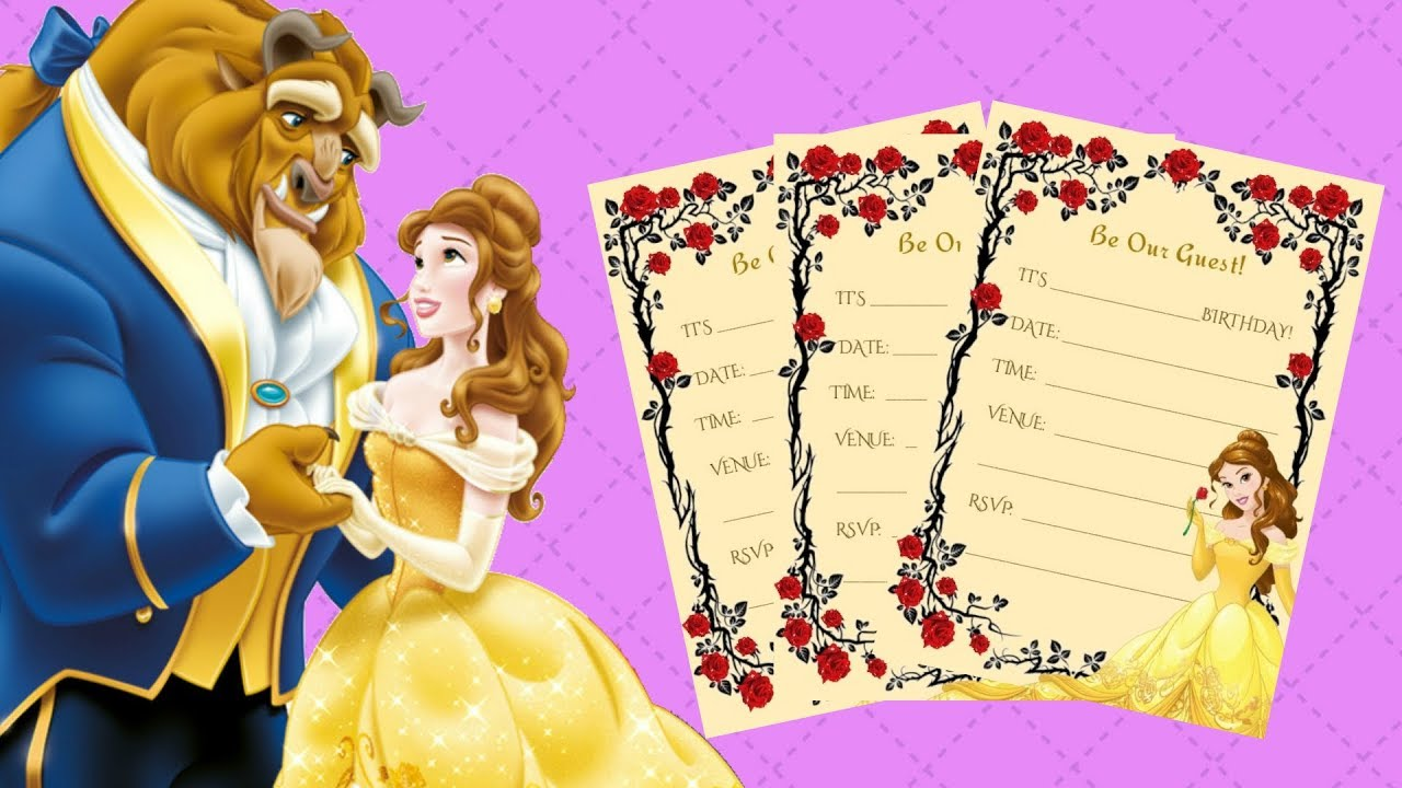 graphic relating to Free Printable Beauty and the Beast Birthday Invitations known as No cost Printable \