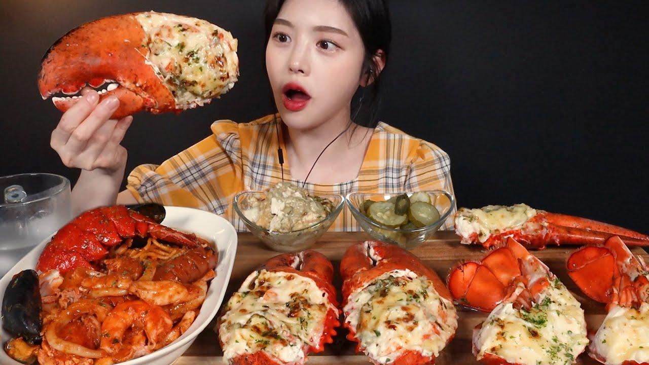 SUB)대왕 치즈버터구이 랍스터 먹방!? 매운 해산물 파스타까지 오늘도 힐링타임,,? Butter-grilled Giant Lobster Seafood Pasta Mukbang
