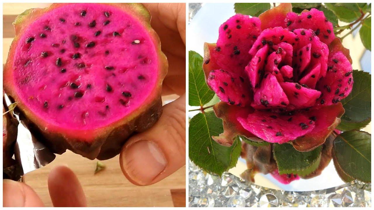 Cách làm hoa hồng thanh long | Hoa hồng khắc hoa quả - YouTube