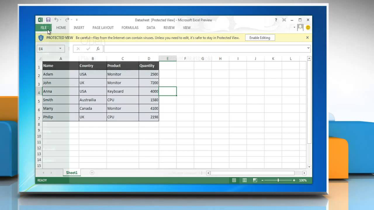 remove protected view in excel 2013