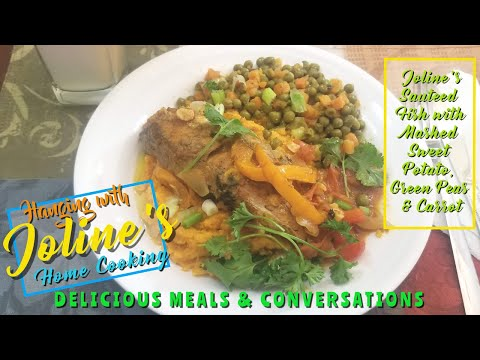 Joline's Sauteed Fish With Mashed Sweet Potato, Green Peas And Carrots