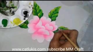 Green Leaf Pink Flower Painting On Fabric Step 2, tutorial cara melukis daun bunga mawar diatas kain