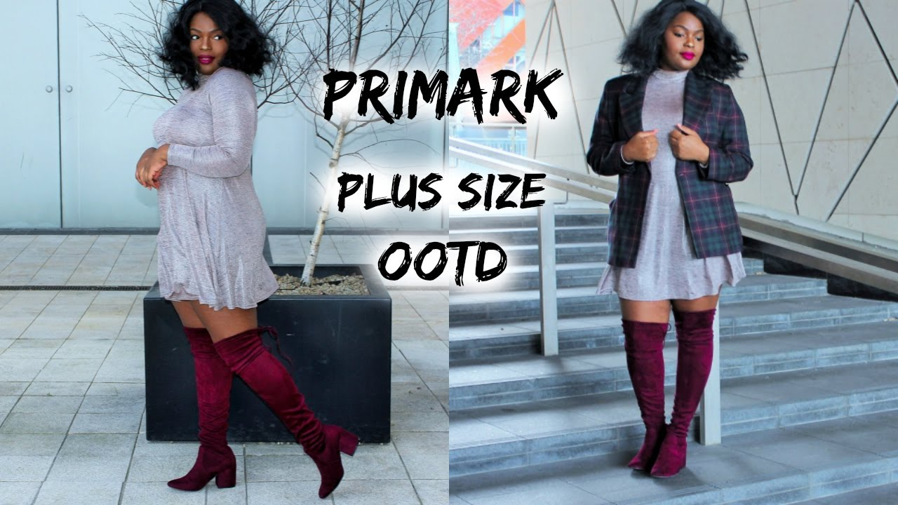 plus size ootd ft. primark velvet thigh high boots | brenda mang