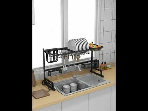 Stainless Steel Sink Drain Rack Kitchen Shelf DIY Bowl Dish