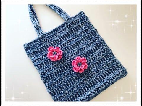 Einfache Tasche häkeln / Strandtasche häkeln - YouTube