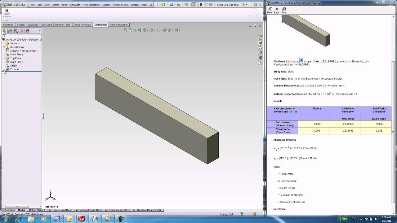 FEA Tutorial Bending of a Cantilever Beam in SolidWorks avi