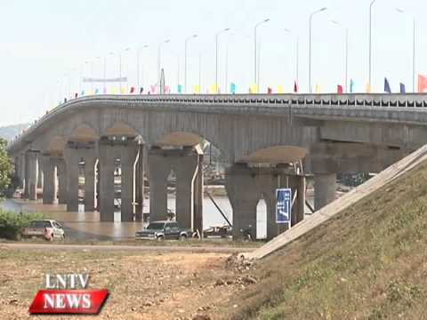 Lao NEWS on LNTV New Mekong bridge opens to use aiming  to boost trade, investment.24/11/2014