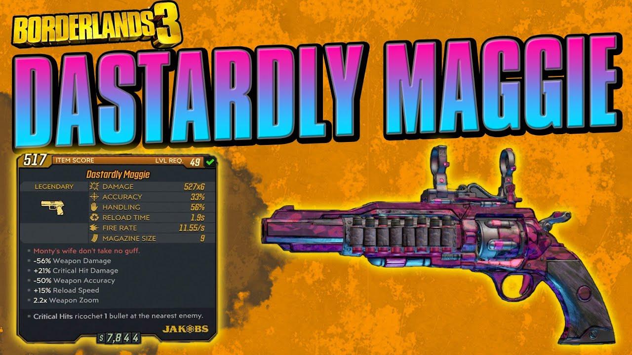 Borderlands 3 Legendary Weapon Dastardly Maggie Pistol Weapon Guide Youtube