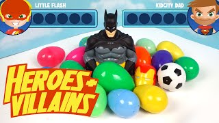 Heroes and Villains Batman Surprise Eggs Game ft Imaginext Toys Superman and Batman Toys by KidCity