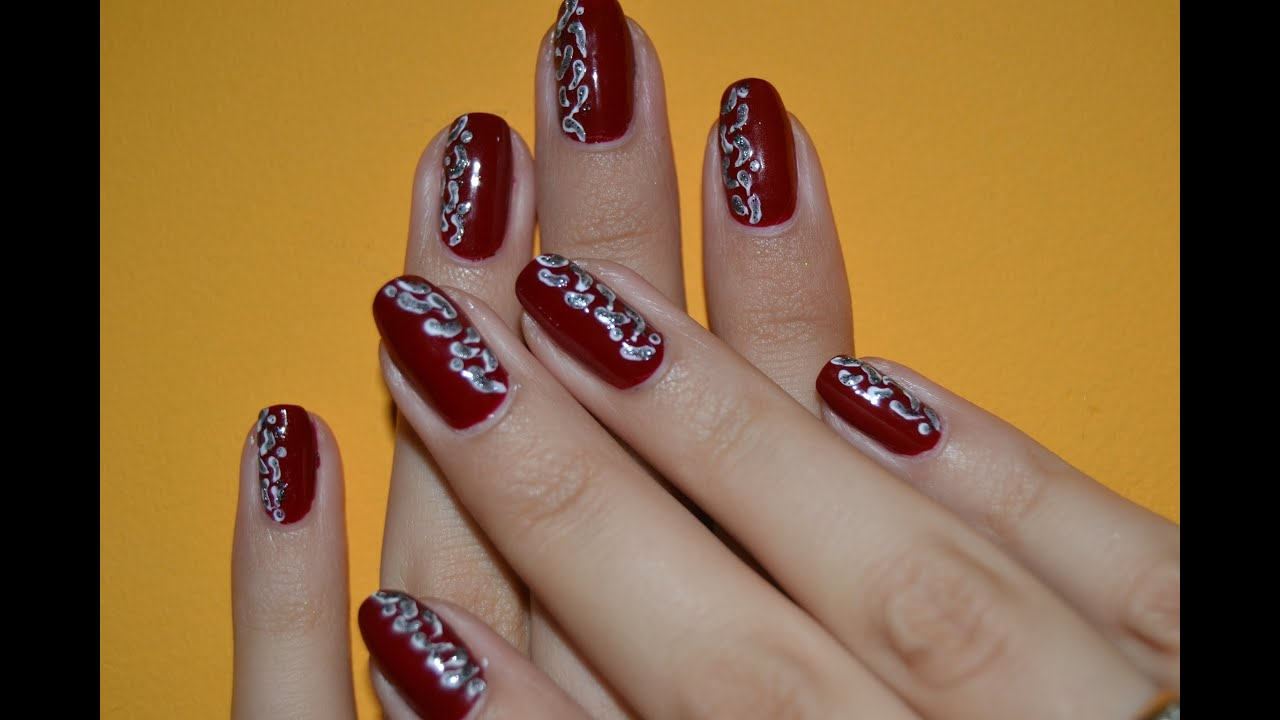 nail art manicure burgundy color youtube prinsesfo Image collections