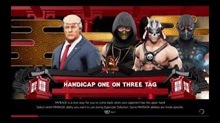 WWE 2K19 Shao Kahn,Sub-Zero,Scorpion VS Donald Trump 3 VS 1 Handicap Match