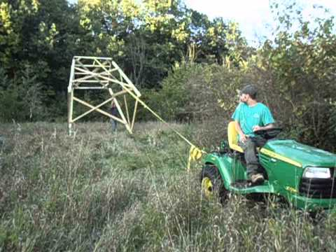John deere x729 raising the elevators box blind platform for Deer hunting platforms