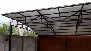 Навесы из поликарбоната в Херсоне(В данном видео показан автомобильный навес с покрытием из поликарбоната Poligal 10мм (Израиль), размеры навеса..., 2016-05-13T13:07:49.000Z)