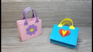 صنع سلة او حقيبة بالورق 💗 paper bag for gift
