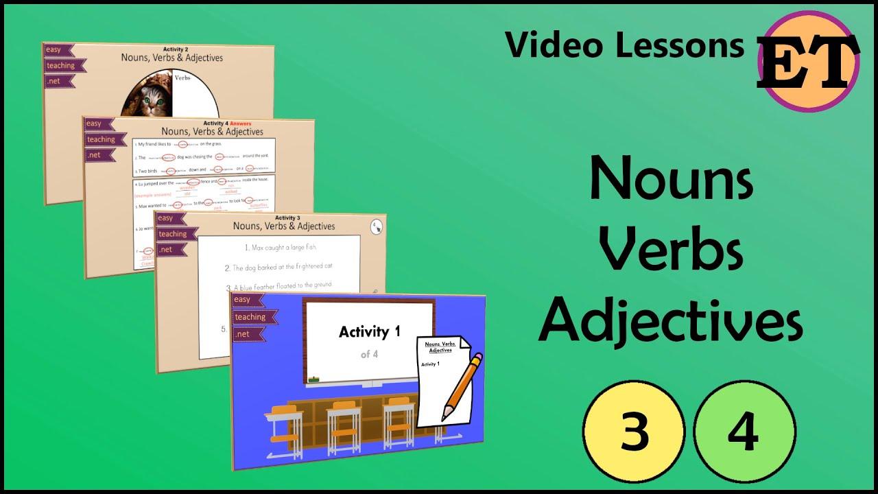 Nouns Verbs \u0026 Adjectives   Video Lessons   EasyTeaching - YouTube [ 720 x 1280 Pixel ]