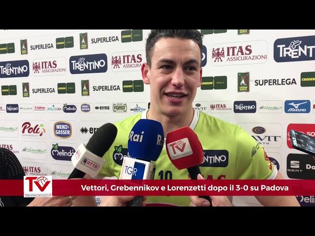Vettori, Grebennikov e Lorenzetti dopo il 3-0 su Padova