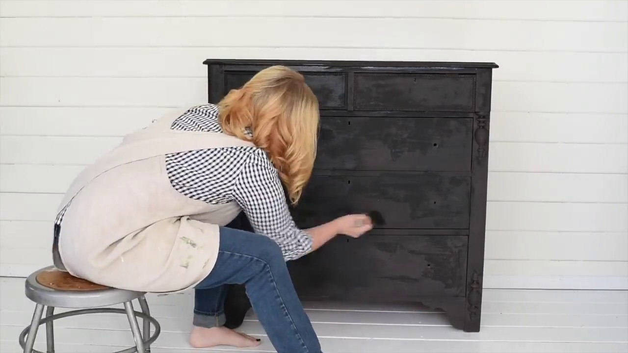 Dresser Makeover With Black Paint