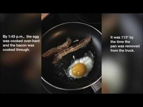 Las Vegas Review-Journal cooks breakfast on a car dashboard