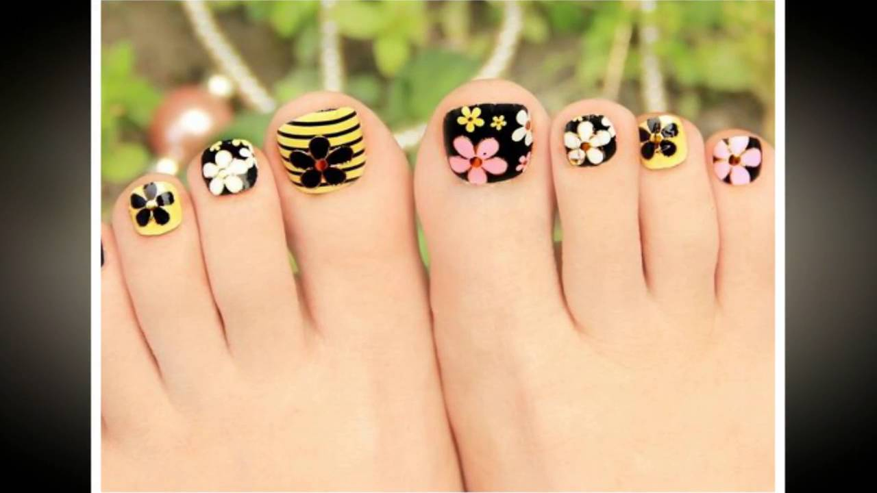 Nail art design for feet - YouTube