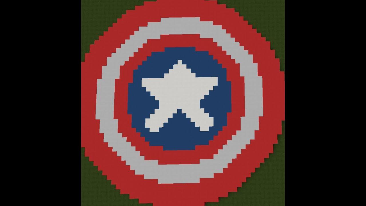 Muitas vezes Pixel Art Minecraft: Como fazer o escudo do Capitão América - YouTube AE67