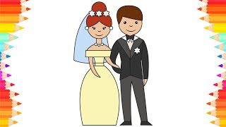 How to Draw Wedding Groom and Bride💐DIY Step by Step Drawings. Art Coloring Book for Children