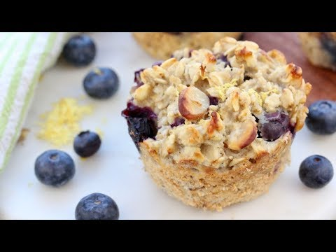 BAKED BLUEBERRY LEMON OATMEAL MUFFIN CUPS | easy healthy breakfast idea
