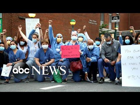 Frontline health care workers kneel in solidarity  WNT