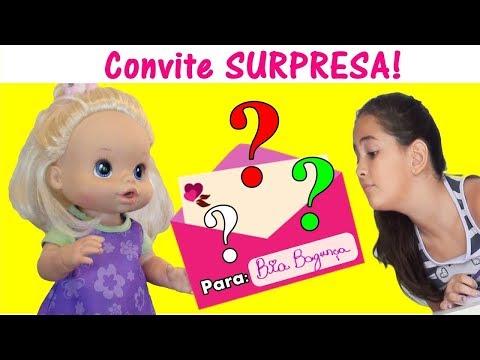 BIA BAGUNÇA RECEBE CONVITE SURPRESA / MINHA BONECA BABY ALIBE BIA PROGRAMA NOVELINHA