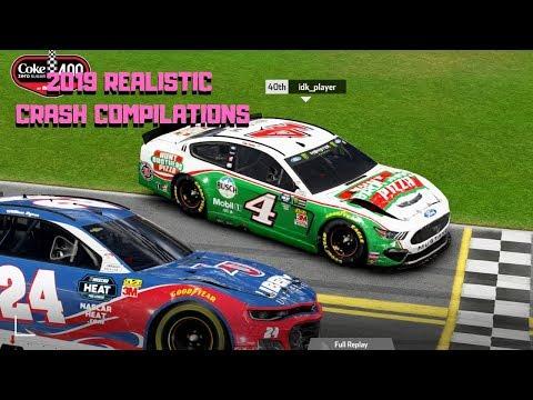 2019 REALISTIC CRASH COMPILATION   NASCAR Heat 3 2019 DLC  