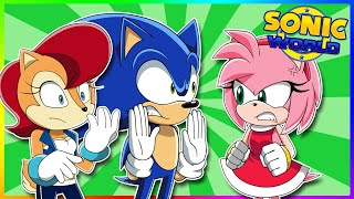 AMY CATCHES SONIC & SALLY!! Sonic and Sally play Sonic World