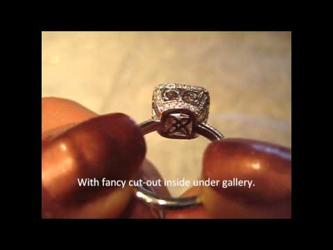 18k Filigree Princess Cut Diamond Halo Engagement Ring Semi-Mount