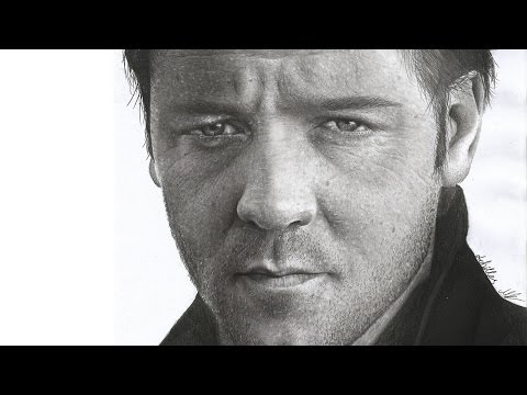 Hyperrealistic pencil drawing Russell Crowe (portrait speed art )- time lapse photorealistic