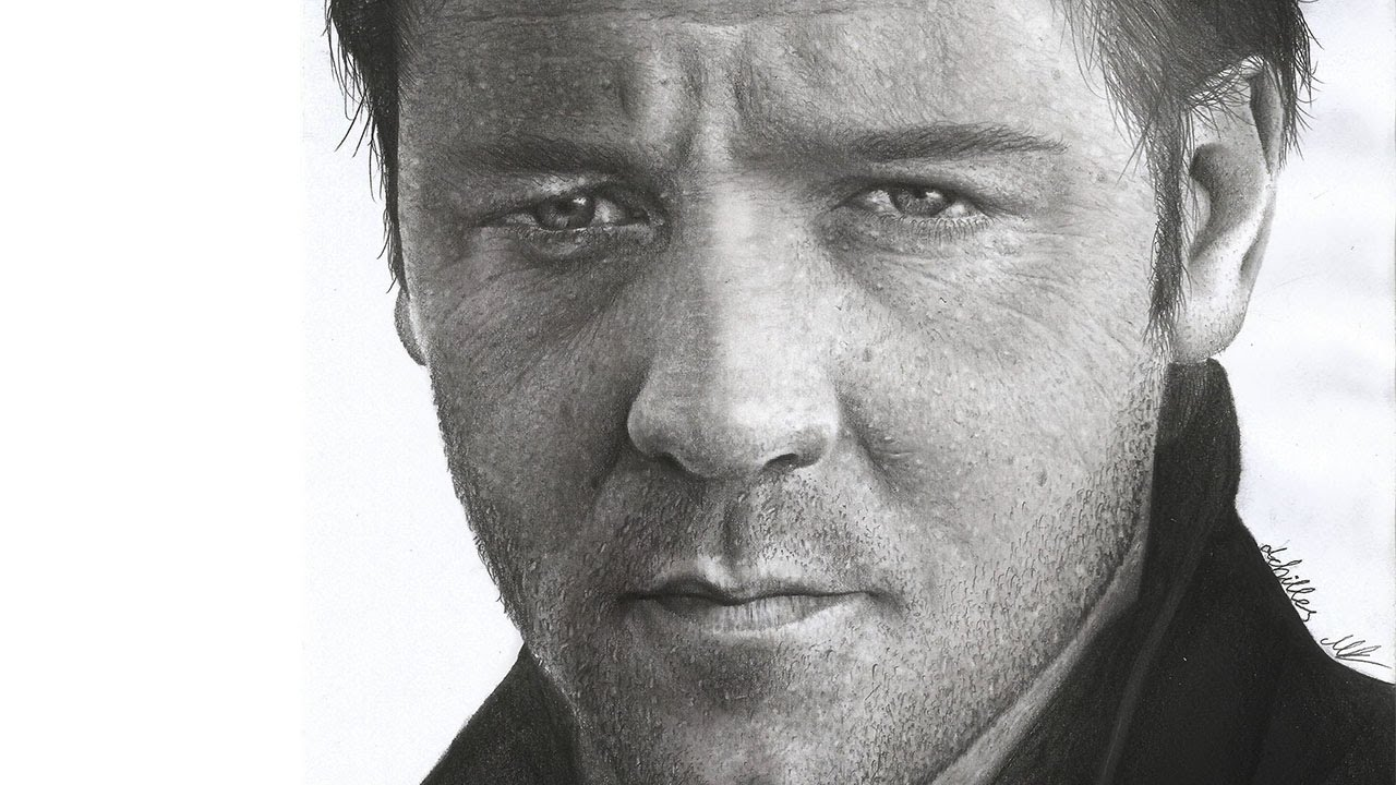 Hyperrealistic pencil drawing russell crowe portrait speed art photorealistic achilles mant