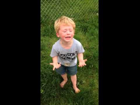 Funny  Kid's Meltdown After He Steps In Dog Poop