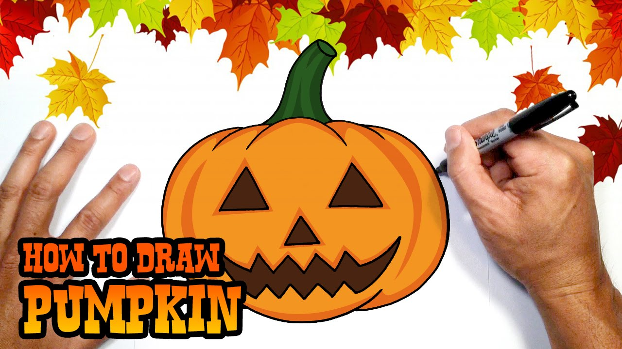 Halloween Pumpkin Drawing Picture.How To Draw Halloween Pumpkin Drawing Lesson