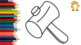 Раскраска для детей МОЛОТОЧЕК. Мультик - Раскраска. Учим цвета II ОБУЧАШКА ТВ