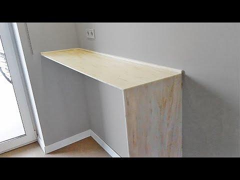 Узкий стол на кухню вдоль стены - искусственный камень