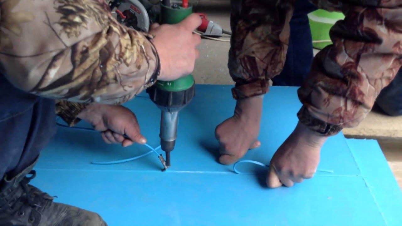 ручной экструдер для сварки листов пнд и пп - YouTube