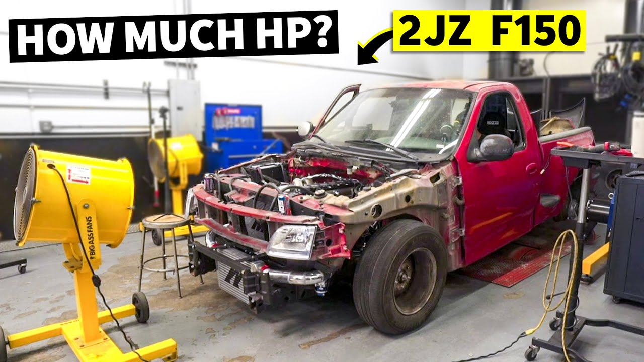 Lord Frightening (Our 2JZ Swapped Ford F-150) RUNS! Dyno Session and… Backwards Wheels?